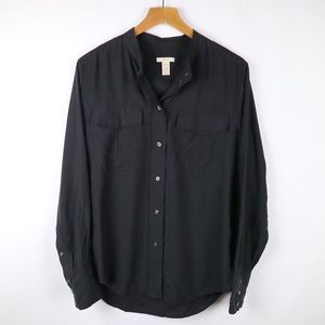 J. Crew silk collarless black button up top elodie